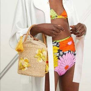 Aranaz Yellow Lulu Bucket Straw Bag